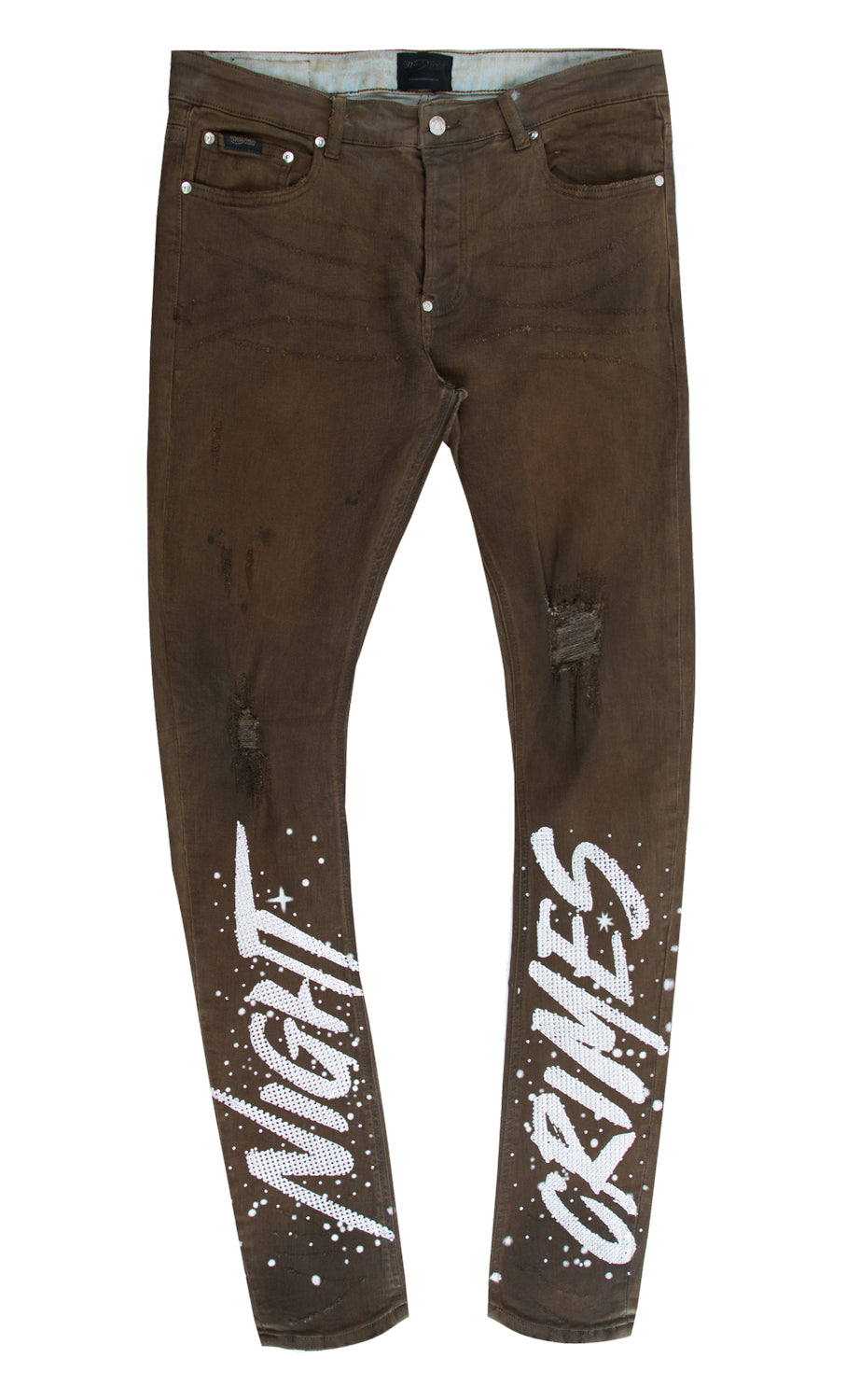NIGHT CRIMES CRYSTAL DENIM PANT BROWN