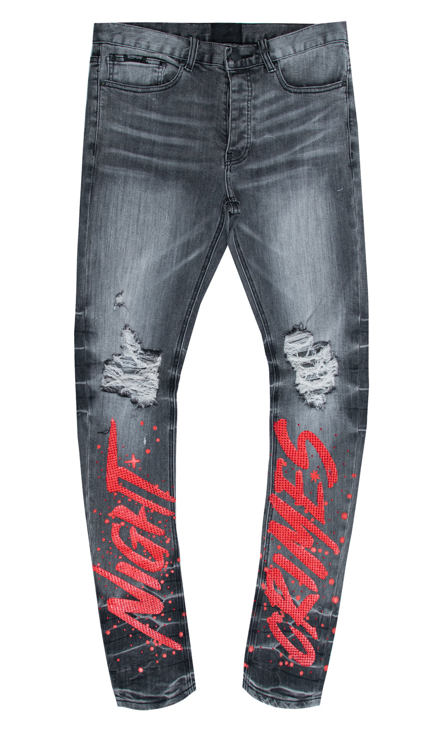 NIGHT CRIMES CRYSTAL DENIM PANT GREY