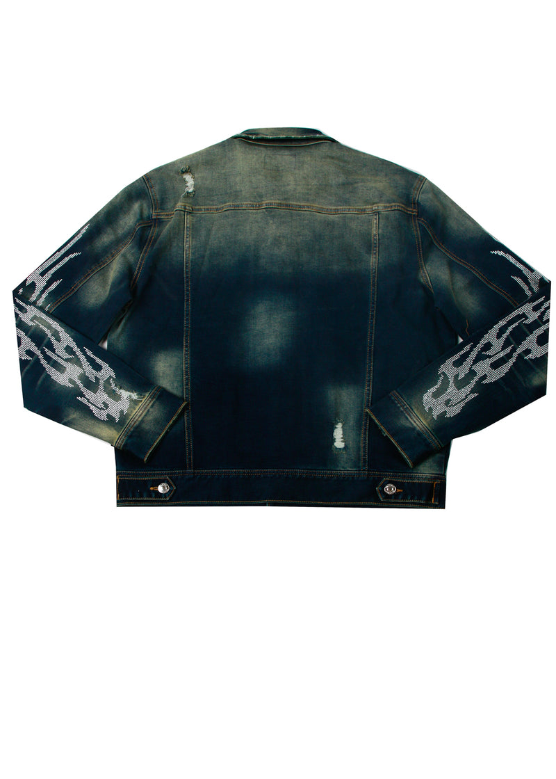 COMBUST CRYSTAL DENIM JACKET DARK