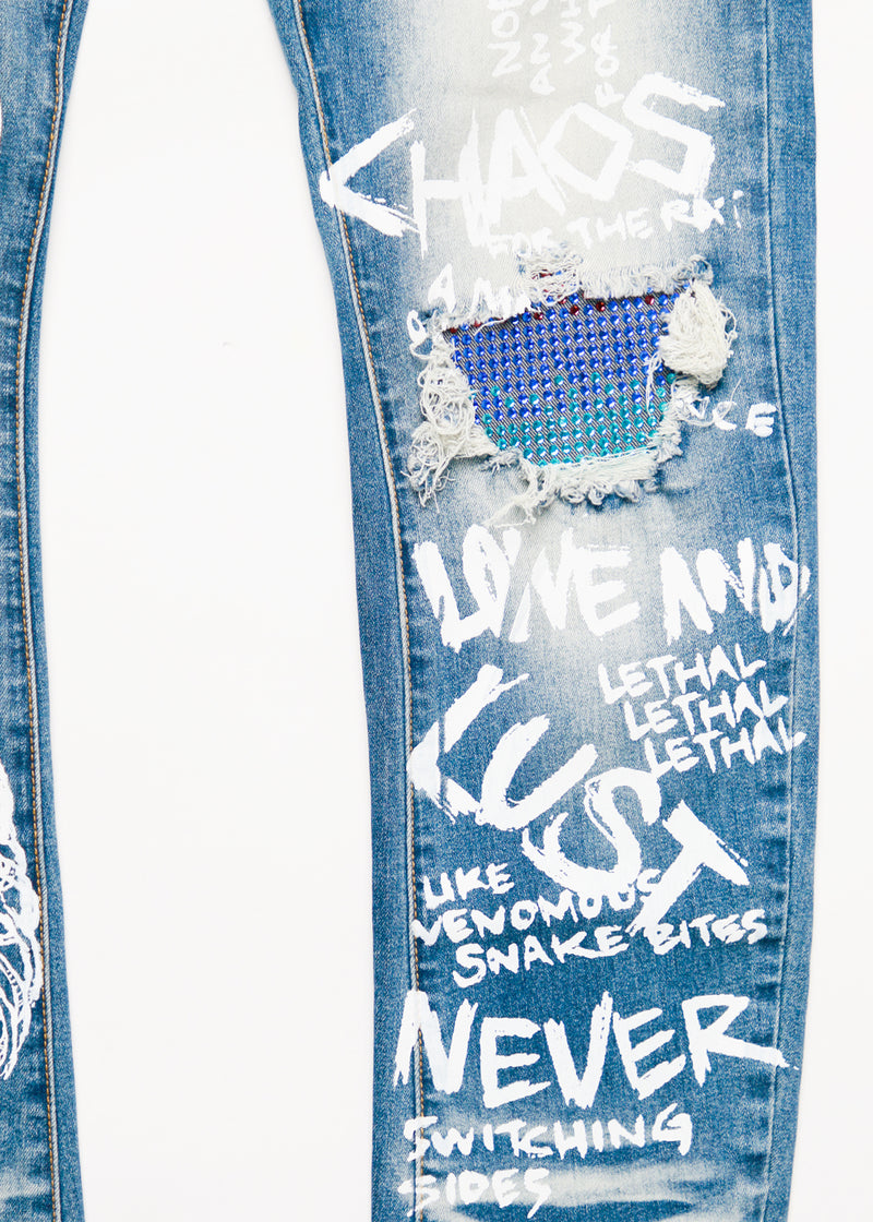 STUDIO CRYSTAL KNEE  DENIM PANT MED BLUE