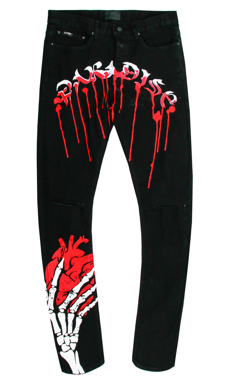 HEARTLESS PUFF PRINT DENIM PANT BLACK
