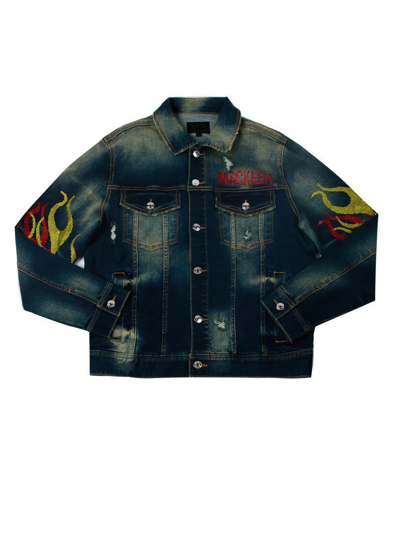 IGNITION CRYSTAL DENIM JACKET DARK BLUE