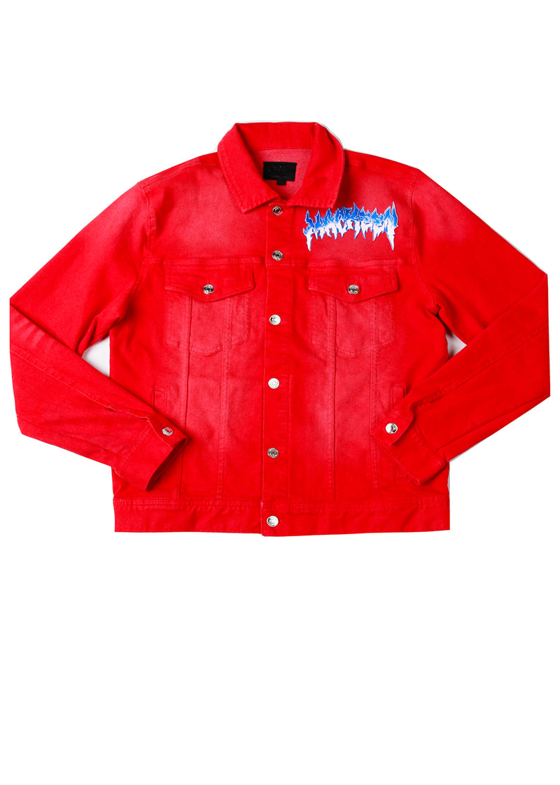 ZEUS CRYSTAL DENIM JACKET RED