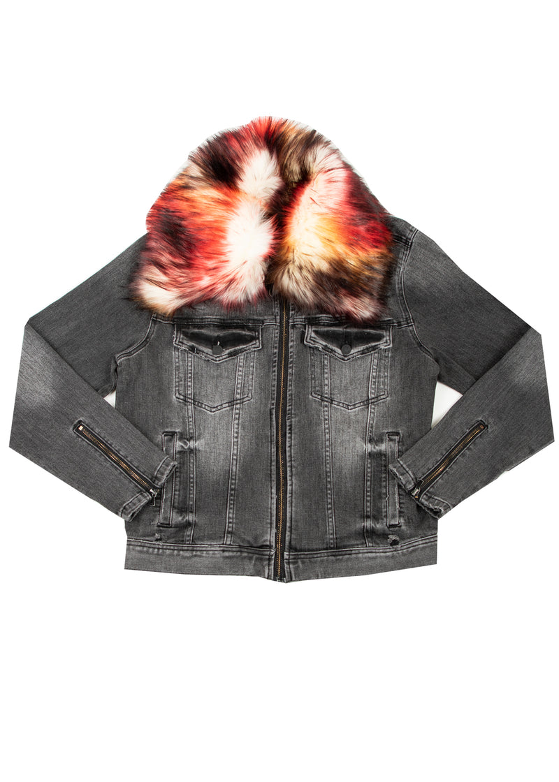 KURT REMOVABLE FUR COLLAR JACKET BLACK