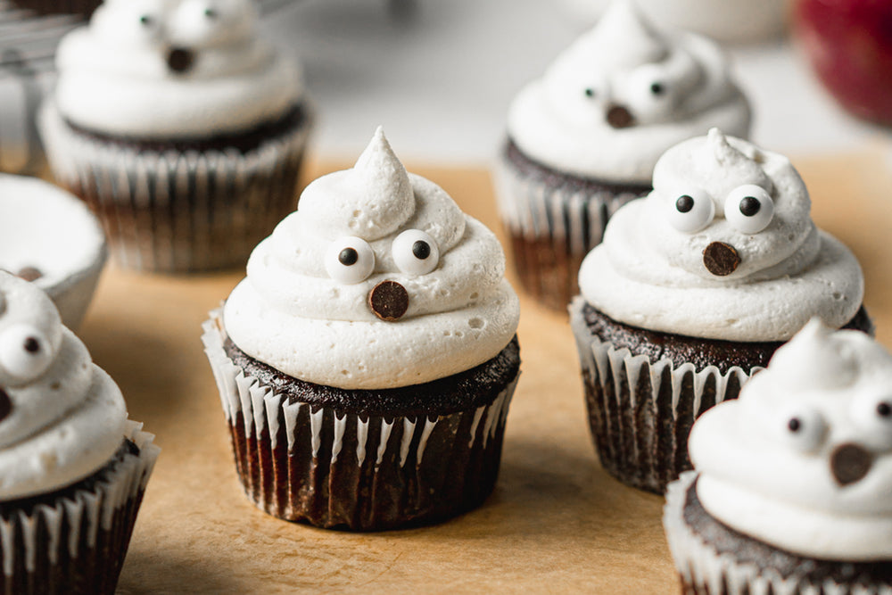 Chocolate Raspberry Ghost Cupcakes with Cashew Cream Cheese Frosting
