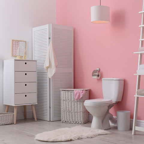 Vibrant Pink Bathroom Using Vinyl