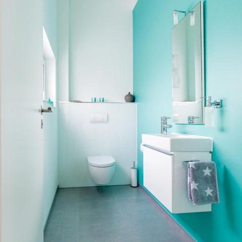 Vibrant Blue Bathroom Using Vinyl