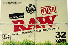 Load image into Gallery viewer, RAW Organic Unrefined Pre-Rolled Cone 32 Pack (1 1/4 Size) Multi-Pack (12)