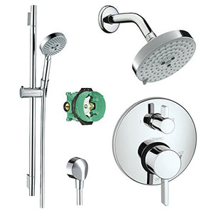 Hansgrohe KSH04447-27495-66PC Raindance Shower Faucet Kit with Handshower Wallbar PBV Trim with Diverter and Rough, Chrome