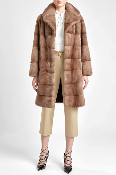 Panelled pastel mink fur coat