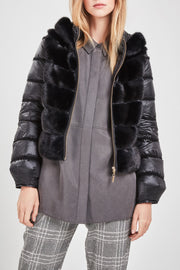 Black mink & down jacket