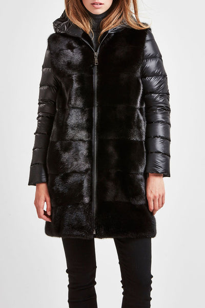 Black mink & down coat