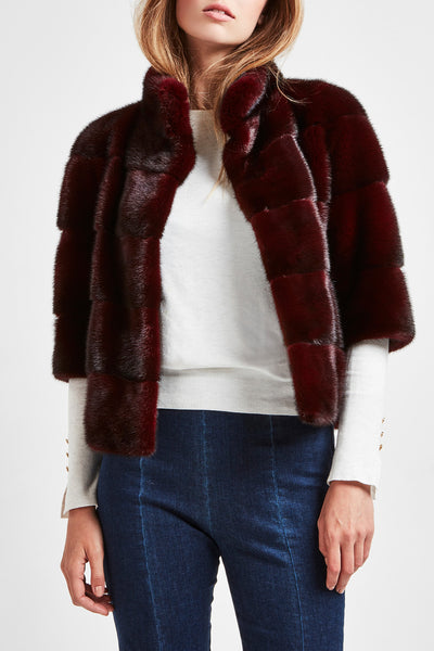 short mink jacket burgundy