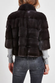 short mink jacket grey