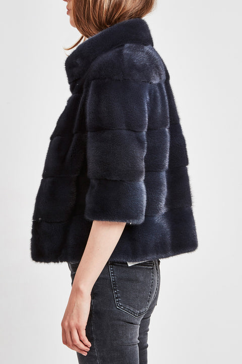 short mink jacket blue