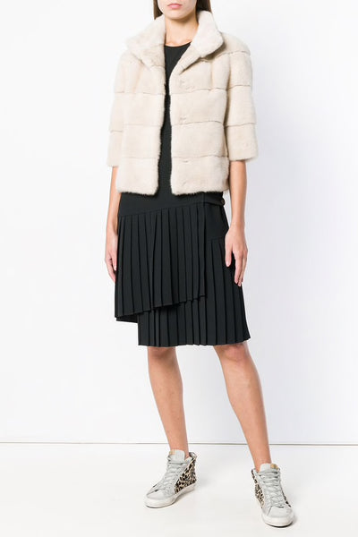 Short mink jacket - pearl