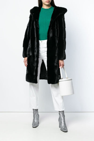 black mink fur coat with mink fur hood
