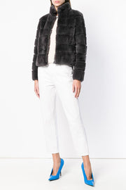 rex rabbit fur jacket grey