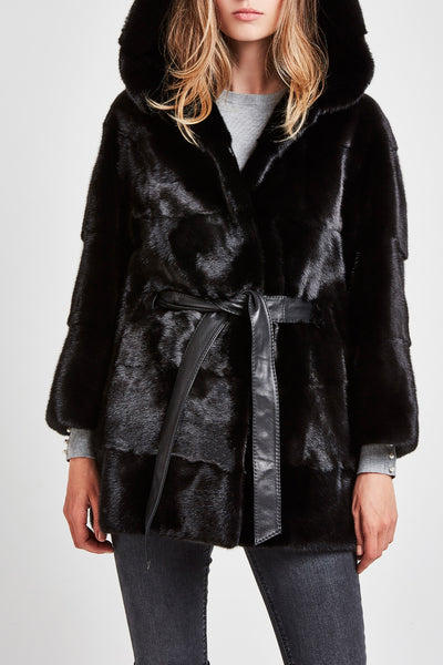 Mink fur coat with hood - black