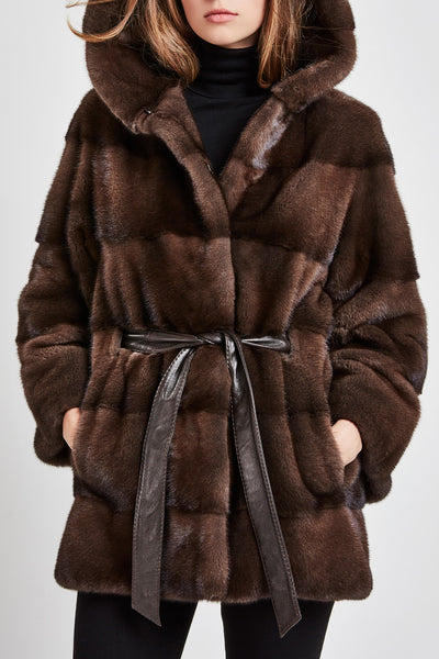 brown mink fur coat with hood