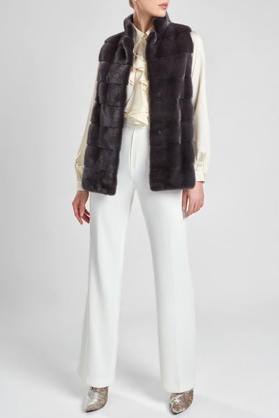 Panelled mink fur gilet - grey