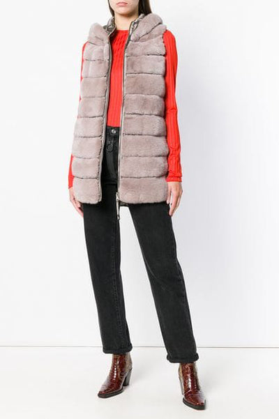 mink and down gilet pink