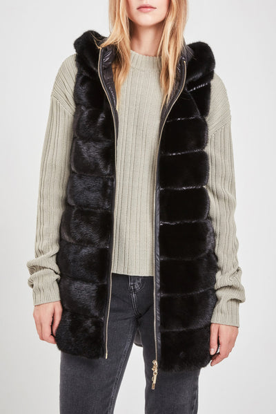 black mink fur and down gilet