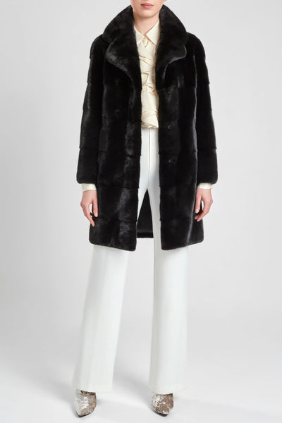 Panelled black mink fur coat