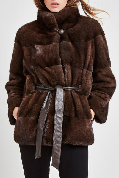 Brown mink fur jacket with belt