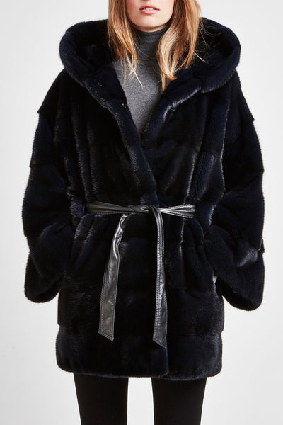 blue mink fur coat with hood and belt