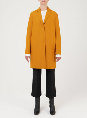 Cocoon coat pressed wool