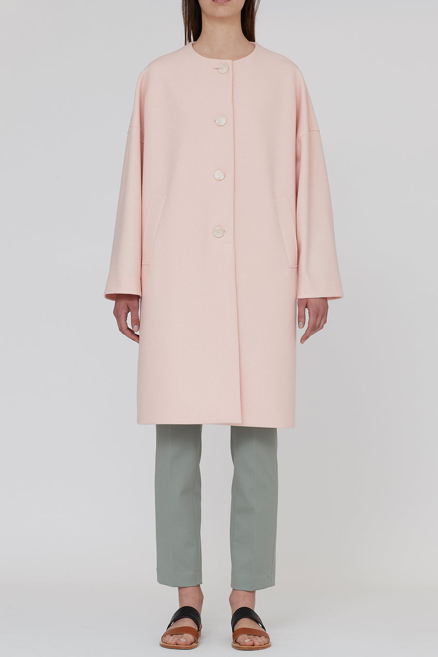 Light pressed wool oversized collarless coat