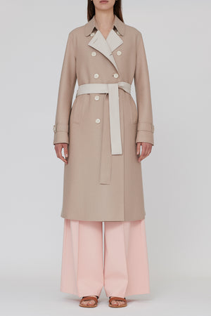 Pressed wool bicolour trench coat