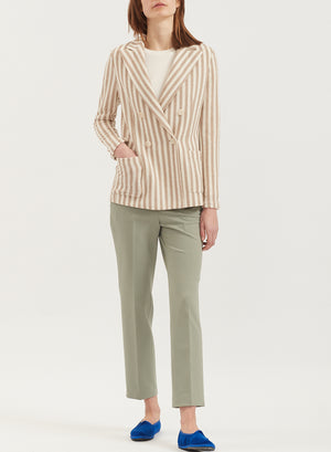 Striped frisé peak lapel blazer