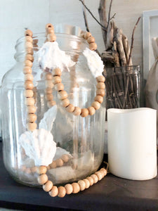 Natural Oyster Shell & Wooden Bead Garland