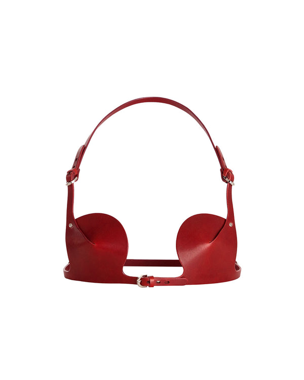 anoeses leather bra in red