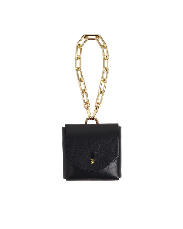 Anoeses black leather bag on a chain