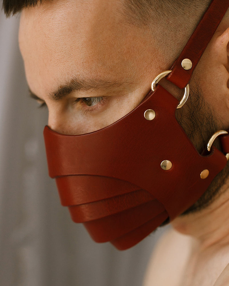 anoeses red leather fetish mask segmented