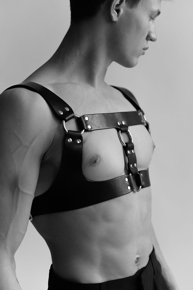 Anoeses leather gay harness in black color