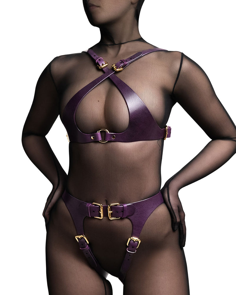anoeses leather violet harness