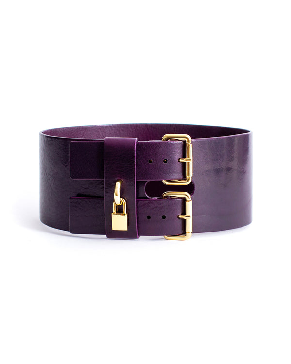 Anoeses violet leather belt with a lock