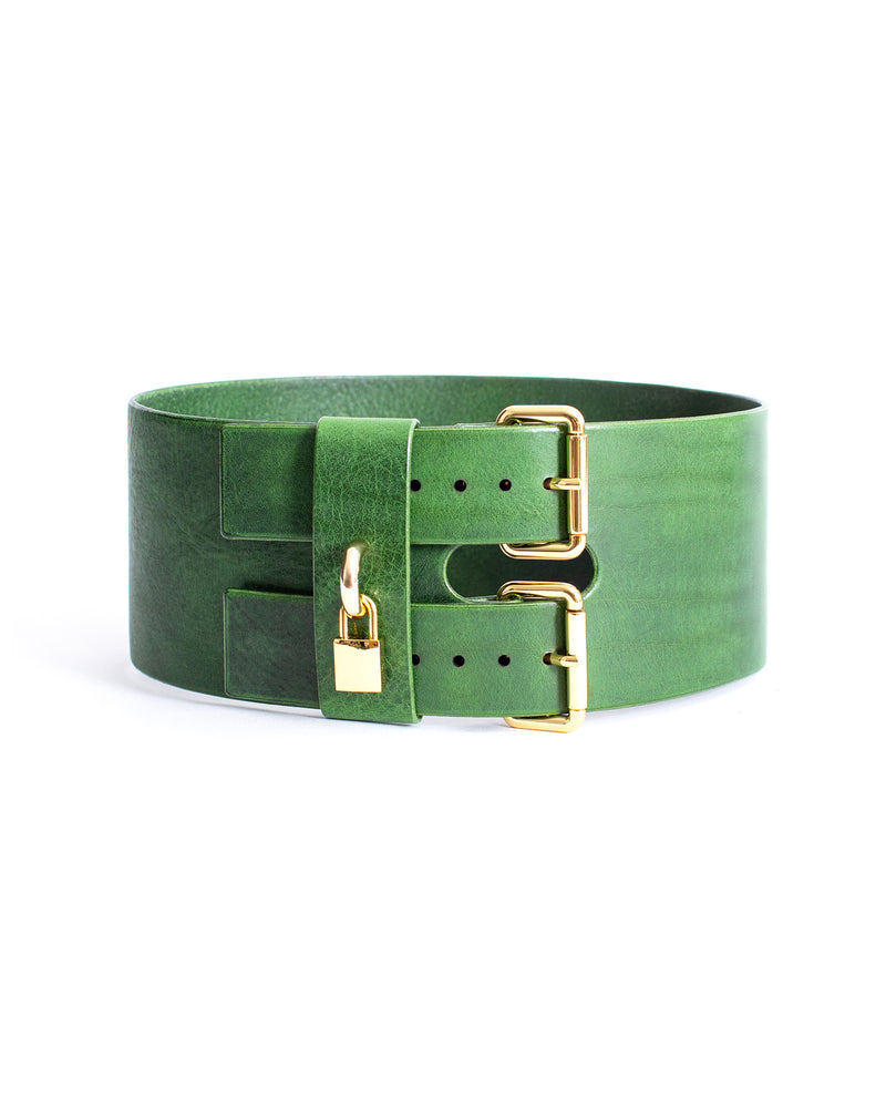 Anoeses green leather belt with a lock