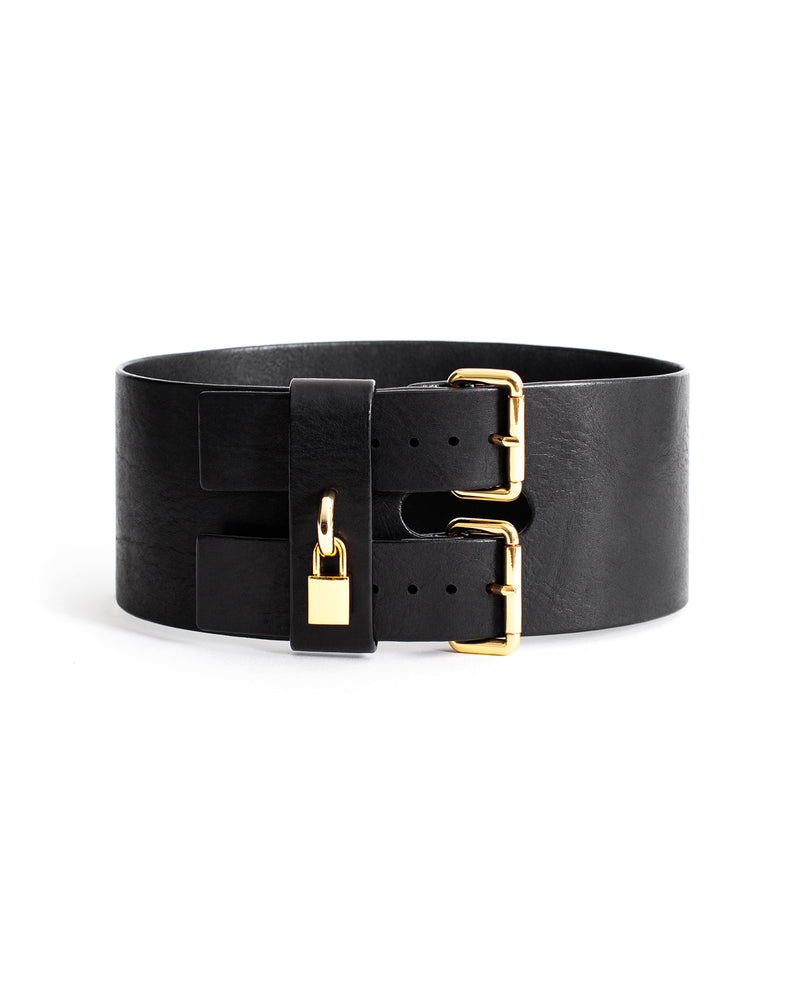 Anoeses black leather belt with a lock