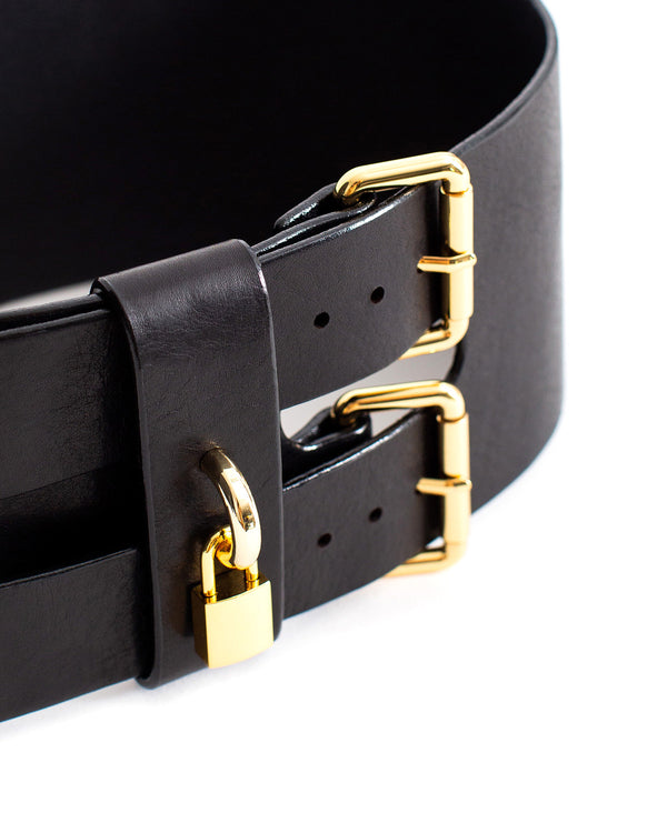 Anoeses wide black leather belt