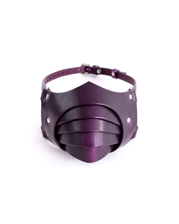 anoeses violet leather fetish mask segmented