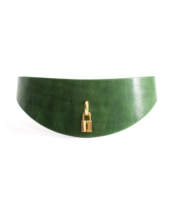 Anoeses green leather casual belt