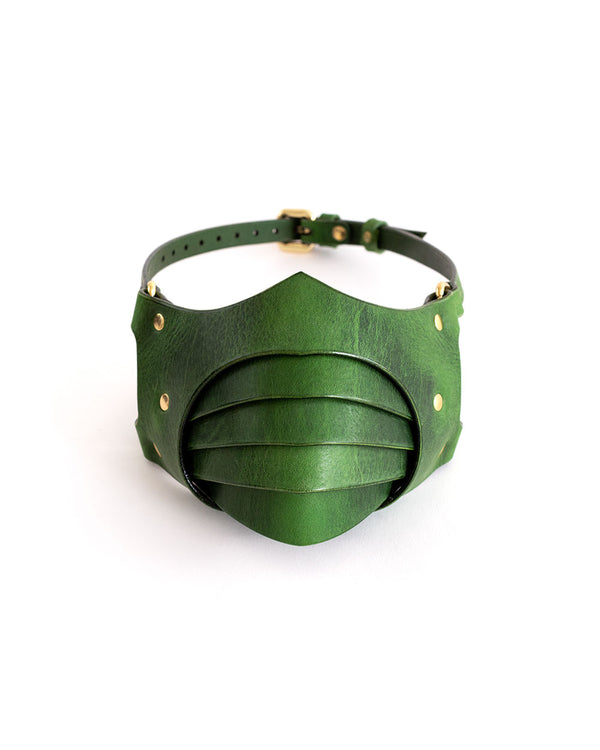anoeses green leather fetish mask segmented
