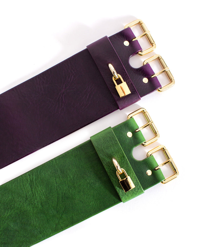 Anoeses violet and green leather belts