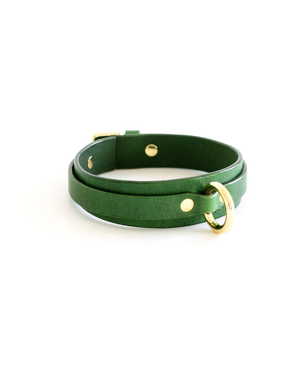 green leather choker