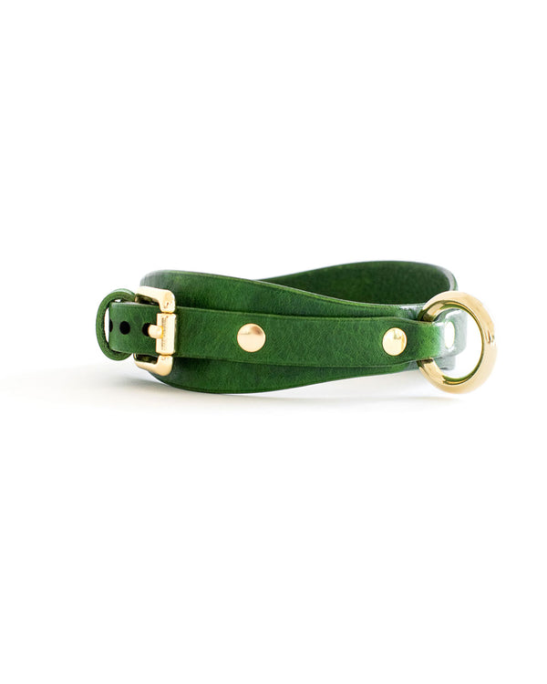 green leather collar